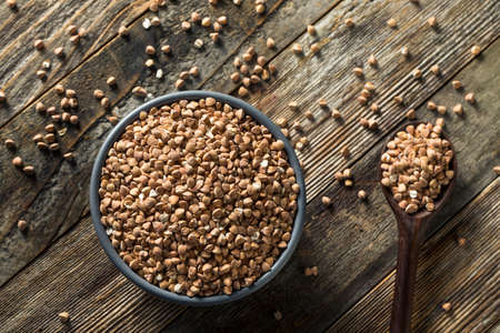 Dry Organic Roasted Buckwheat in a Bowl