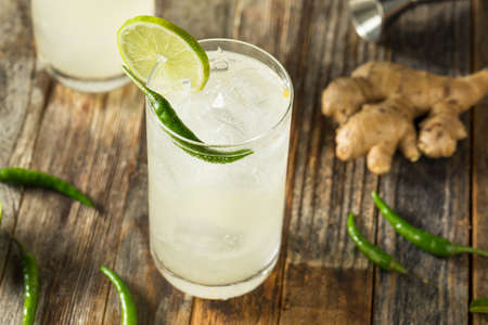 Refreshing Rum Thai Siam Sunray with Lime and Pepper Stock Photo