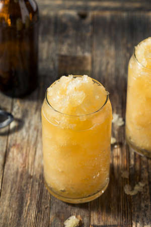Homemade Frozen Beer Slushie Cocktail in a Glass 写真素材