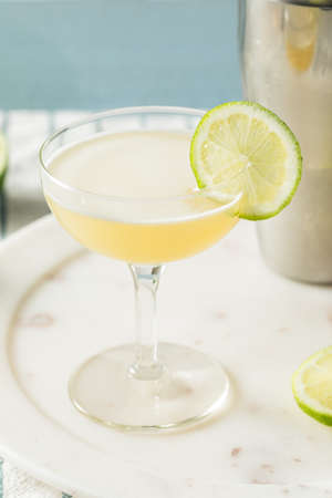 Homemade Vokda Gimlet Cocktail in a Coupe Glass