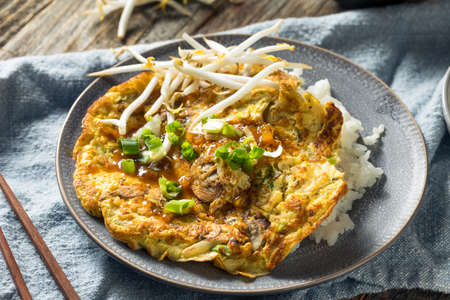 Homemade Chinese Egg Foo Yung Omelette with Rice
