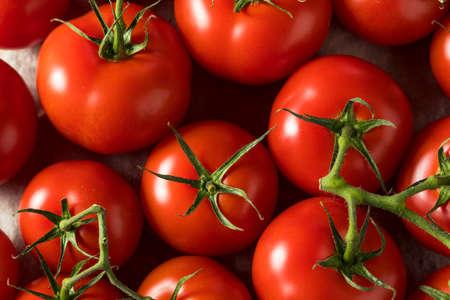 Tomates rouges mûres biologiques crues en grappe