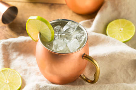 Homemade Vodka Moscow Mule with Ginger Beer and Lime Stock Photo