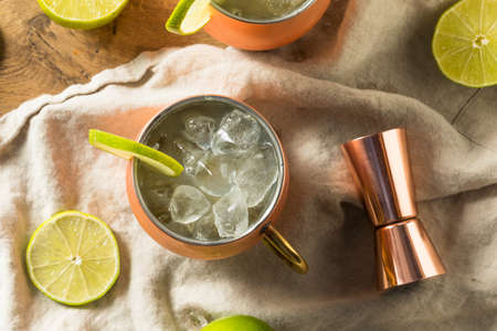 Homemade Vodka Moscow Mule with Ginger Beer and Lime