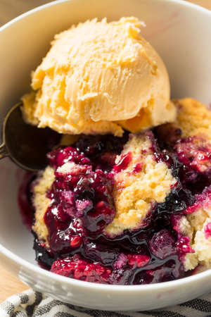 Homemade Berry Cobbler with Ice Cream Ready to Eat