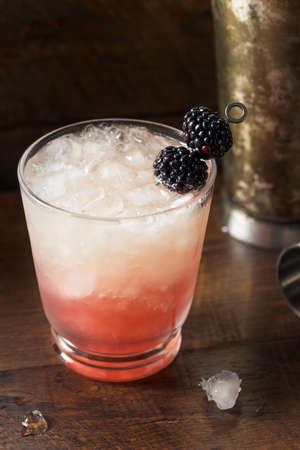 Boozy Blackberry Bramble Gin Cocktail with Lemon