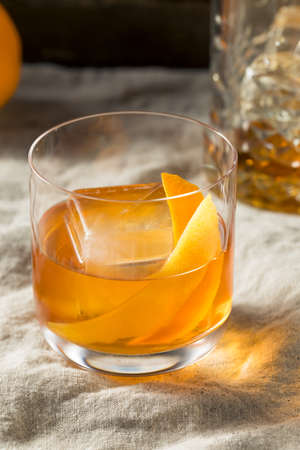 Boozy Bourbon Old Fashioned Cocktail with Orange and Lemon