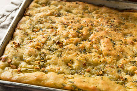 Homemade Garlic and Rosemary Focaccia Bread with Olive Oil