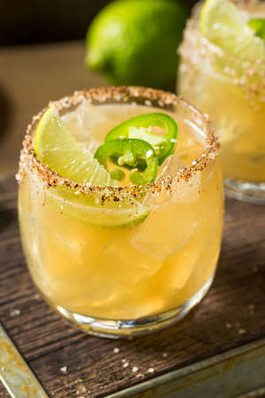 Homemade Spicy Jalapeno Margarita with Lime and Tequila