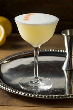 Sweet Boozy Whiskey Pisco Sour with Lemon and Angastora Stok Fotoğraf