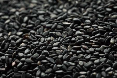 Raw Dry Organic Black Sesame Seeds in a Bowl