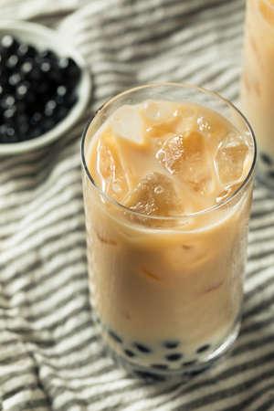 Refreshing Homemade Boba Milk Tea with Tapioca Pearls