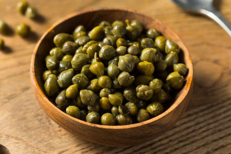 Organic Pickled Canned Capers in a Bowl