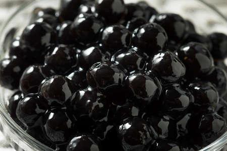 Raw Cooked Organic Tapioca Pearl Balls in a Bowl Stok Fotoğraf