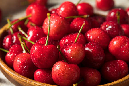 Raw Red Organic Cherries Ready to Eat