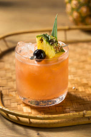 Homemade Boozy Mai Tai Cocktail with PIneapple and Orgeat Banque d'images