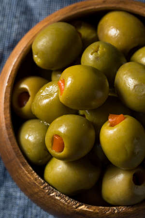 Organic Green Canned Pimento Olives in a Bowl
