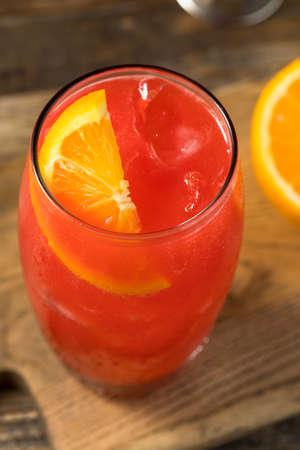 Refreshing Boozy Southern Alabama Slammer Cocktail with Orange Garnish Stock Photo