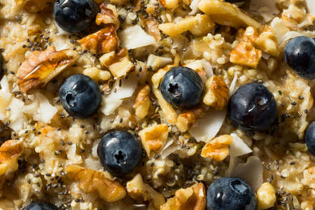 Homemade Healthy Breakfast Oatmeal with Nuts Blueberries and Chia