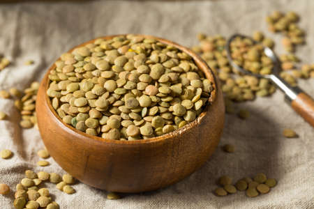 Dry Green Organic Lentils in a Bowl Ready to Cook