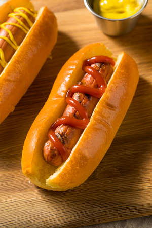 Healthy Homemade Turkey Hot Dogs with Ketchup Mustard and Onion