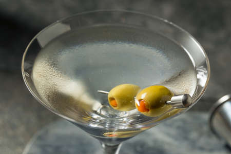 Boozy Dry Vodka Martini with Green Olives
