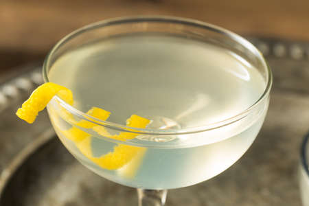 Refreshing Dry Martini with a Lemon Garnish and Vermouth