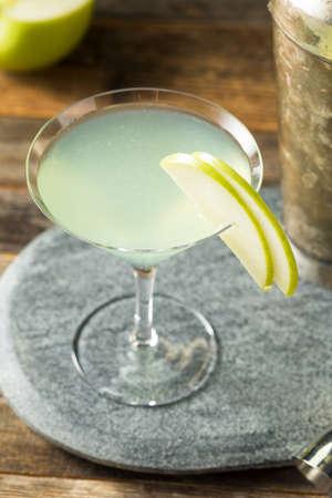 Boozy Refreshing Appletini Cocktail with Vodka and Garnish