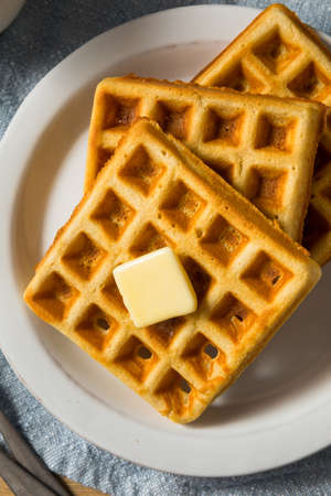 Homemade Warm Belgian Waffles for Breakfast with Butter