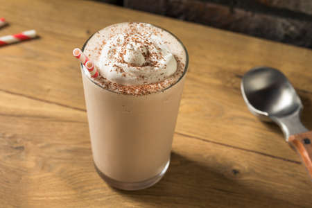 Homemade Chocolate Ice Cream Milkshake with Whipped Cream Reklamní fotografie