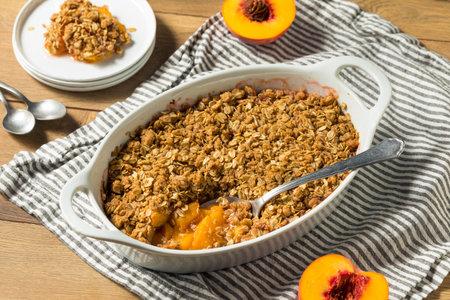 Sweet Homemade Peach Cobbler Crisp with Oat Topping