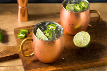 Boozy Refreshing Spicy Jalapeno Tequila Mule with Lime and Ginger