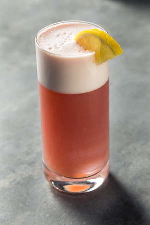 Refreshing Boozy Chicago Fizz Cocktail with Rum and Port