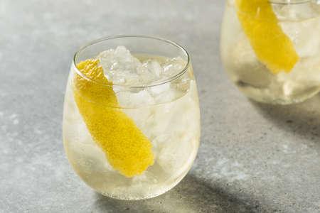Boozy Refreshing White Wine Spritzer with a Lemon Peel Stock fotó