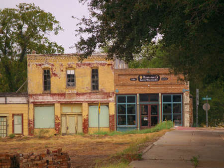 Store front of old buildings standing since 1850 in small town in North Texas