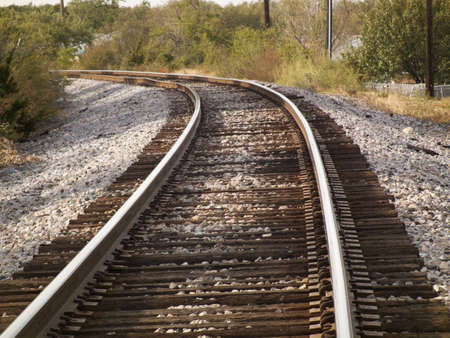 freight rail making hard bend out of sight