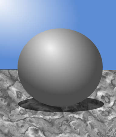 Steel ball on marble table