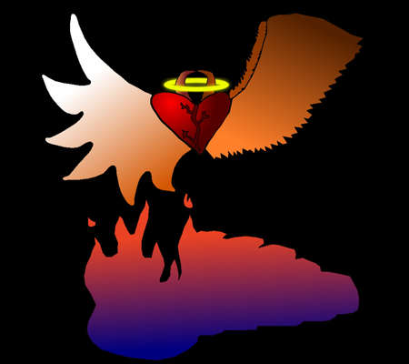 Winged heart good and evil rising from lake of fire