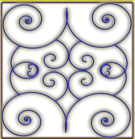 melk glas: blauwe draad inleg op melkglas tegel afdrukken Stock Illustratie
