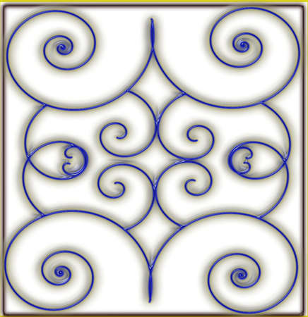 blue wire inlay on milk glass tile print Illustration