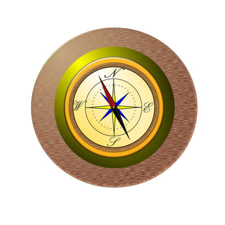 Compass rose mounted on brass and wood