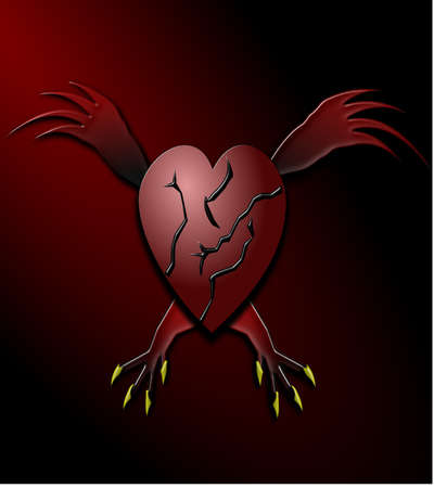 Heart with wings and claws