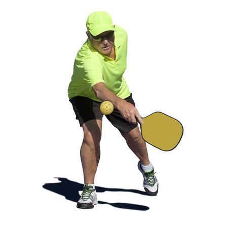 backhand: Pickleball Action - Senior Male Player Hitting Backhand