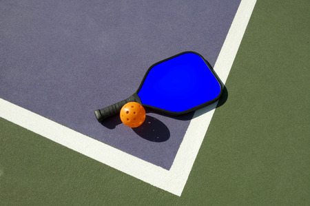 no body: Pickleball and Blue Paddle On Edge Of Court