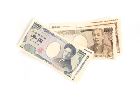 Japanese YEN currency banknotes isolated