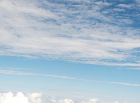 blu sky: Cloudscape view above white clouds and blue sky from airplane Stock Photo