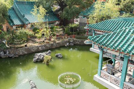 Park in Wong Tai Sin temple, Kowloon, Hong Kong Stock Photo