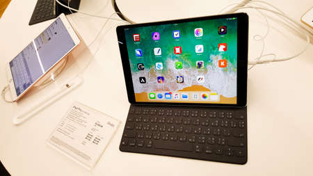 BANGKOK, THAILAND - NOVEMBER 11, 2017: iStudio Shop at CentralWorld Shopping Mall is showing iPad Pro with Apple Pencil for a customer to test the iPad Pro using experience.