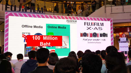 BANGKOK, THAILAND - FEBRUARY 20, 2018: Unveil event of Fujifilm X-A5, the latest mirrorless camera X-A Series for entry customer segment from Fujifilm that has been unveiled at CentralWorld shopping mall in Bangkok Thailand. Éditoriale