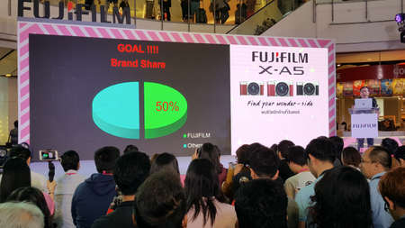 BANGKOK, THAILAND - FEBRUARY 20, 2018: Unveil event of Fujifilm X-A5, the latest mirrorless camera X-A Series for entry customer segment from Fujifilm that has been unveiled at CentralWorld shopping mall in Bangkok Thailand. Editorial